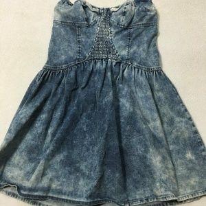 VS London Jean Denim Acid Wash Bustier Dress